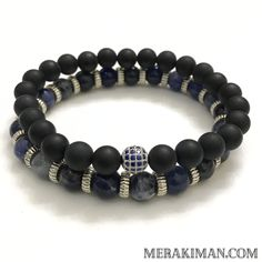 MODERN MAN Stack | Sodalite | Black Onyx | CZ Diamond Pave Ball  || The Modern Man stack is a combo of natural Blue Sodalite and Matte Black Onyx gemstones. The Sodalite bracelet in surrounding in Ribbed Silver Rondelles. The Black Onyx bracelet is highlighted with a Blue CZ Diamond Silver Ball.