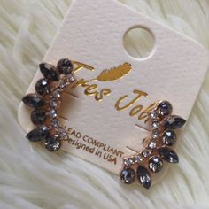 "Elegant crystal earrings Beautiful earrings. Black/silver. About 1"" long.  . Price firm unless bundle Jewelry Earrings"