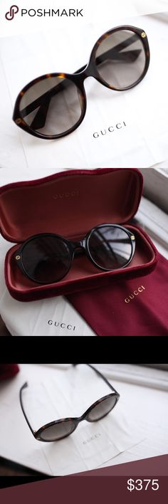 Gucci Sunglasses & Velvet case Beautiful Gucci Sunglasses that are new (never worn just tried on inside) Oversized style Purchased in-store Tortoise shell brown frames  Comes with everything shown  Just trying to get some money back No trades please❣️ Gucci Accessories Glasses
