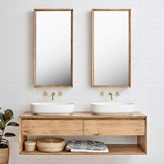 Furniture Baxter Double Timber Vanity - -Loughlin Furniture Baxter Double Timber Vanity - - the insider secrets of lovely contemporary bathroom designs discovered 7 Laundry In Bathroom, Bathroom Renos, Small Bathroom, Master Bathroom, Vanity Bathroom, Bathroom Art, Natural Bathroom, Bathroom Hardware, Gold Hardware