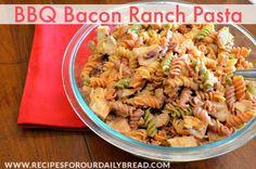 Easy BBQ Ranch Pasta Salad http://recipesforourdailybread.com/2014/05/10/bbq-bacon-ranch-chicken-pasta/