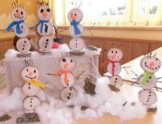 Kita - Ideenkiste! Nicht nur für ErzieherInnen!: Schneemänner aus Holzscheiben