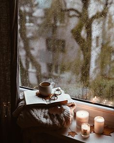 ImageFind images and videos about book, autumn and rain on We Heart It - the app to get lost in what you love. Cozy Aesthetic, Autumn Aesthetic, Rain And Coffee, Foto Top, I Love Rain, Rain Painting, Rain Days, Rain Photography, Autumn Cozy