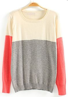 Grey Color Block Round Neck Cotton Blend Sweater
