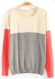 Grey Color Block Round Neck Cotton Blend Sweater