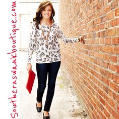 Our Wild About You Sweater is light weight & super soft! Great under a blazer for the office or skinnies and flats! We are loving this fun & funky #leopard print! Southernswankboutique.com for all #newarrivals posted today! #instafashion #instastyle #fallfashion #fall2014 #animalprint #ootd #wiw
