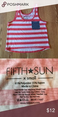 American flag crop top Only worn once! This American flag crop top is super cute with a pair of high waist cut offs! Tops Crop Tops