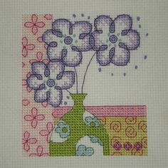 Cross Stitch - Flower panel for Kids Company Project - stitched January 2010
