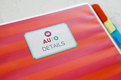 IHeart Organizing - Auto Binder - Keep all essentials together including an auto maintenance log. My next project!!