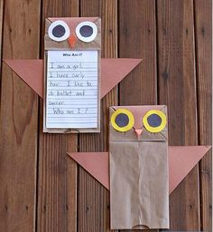 Owl Paper Bag Crafts for Kids | Turn paper bags into fun puppets or a game this fall