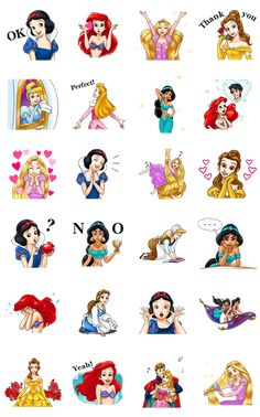 Disney princess animated stickers are here! Join Rapunzel, Ariel, Jasmine, Belle, Aurora, Cinderella, and Snow White in a variety of gorgeous and elegant poses!