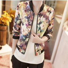 New Women Spring Jackets Short Tops 2016 Long Sleeve Floral Print Coat Vintage…