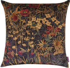 Liberty Art Fabrics Faria Flowers Vintage Velvet Cushion In Blackberry