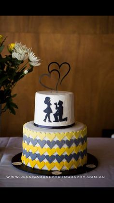 Engagement cake. Yellow, white and grey cake. She said yes. Proposal. Love hearts.