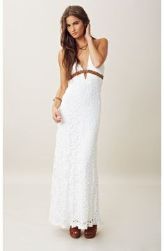 Crochet and braided leather maxi dress