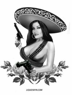 Mexican Man Mexican woMan Wearing A Sombrero Chicano Tattoos, Chicano Drawings, Lowrider Art, Brown Pride, Aztec Art, Mexican Art, Mexican Girls, Pin Up Art, Skull Art