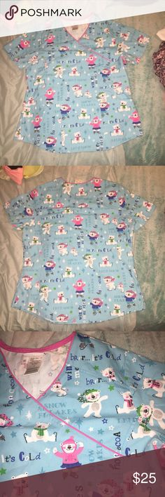 🎉SALE🎉 Winter print scrub top Brand new without tags size medium scrub star top with a winter design and is super soft! Never washed or worn. Offers are welcome 🙂 ScrubStar Tops Tees - Short Sleeve