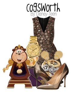 Cogsworth by disney-teen on Polyvore featuring polyvore, fashion, style, Alice + Olivia, Sergio Rossi, Rebecca Minkoff, Lacoste, Clarice Price Thomas, Disney, disney, disneybound, BeautyandtheBeast, disneyfashion and disneycharacter