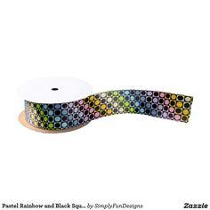 Pastel Rainbow and Black Squares and Polka Dots Satin Ribbon