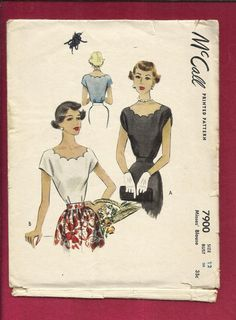 1949 McCall's 7900 Scalloped Neckline Blouse with by MrsWooster, $15.00