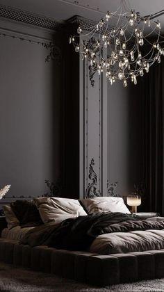 Black Master Bedroom, Black Bedroom Design, Black Bedroom Walls, Dark Bedrooms, Black Rooms, Luxury Bedroom Design, Earthy Home Decor, Dark Home Decor, Dream House Interior