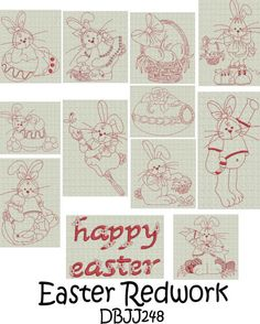 Embroidery Designs | Free Machine Embroidery Designs | JuJu Easter Redwork
