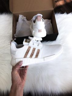 bb7093adcef Swarovski bling Adidas NMD R1 Runner Sneaker Casual shoes - White Gold