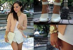 Gaby Gómez MODA CAPITAL - Choies Shoes, Zara Blazer, Zara Clutch, Sheinside Skirt, Michael Kors Watch - White obsession!