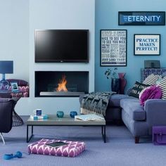 love this set up with tv above fireplace