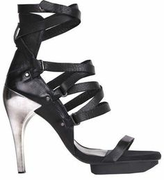 All Saints black Theta lace-up strappy sandals Heel   UK 6.5,
