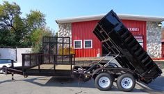 by 16 ft. and features a 10 ft. dump bed and a 6 ft. utility bed and pound axles. Lawn Trailer, Work Trailer, Trailer Plans, Trailer Build, Utility Trailer, Welding Trailer, Trailer Diy, Welding Rigs, Dump Trailers