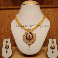 Jewellery Designs: CZ Swarovski Pendant with Gold Chain