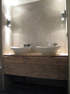 Badkamer meubel van steigerhout met 2 lades naast elkaar (51220131130) | Badkamermeubels | JORG`S Houten Meubelen