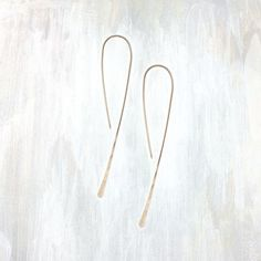 fail: Medium Simple Hook Earring. A basic hammered silver hook earring available in two sizes, in 14k gold fill in both yellow & rose gold, 2 1/4″ total length.