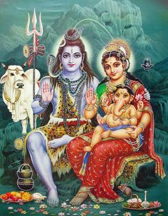 Shiva Sitting with Parvati, Ganesha and Nandi - (Poster with Glitter) (Reprint on Paper - Unframed))