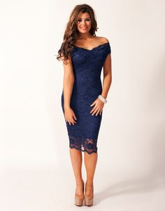 Jessica Wright Olivia Off The Shoulder Lace Dress from Lipsy London.