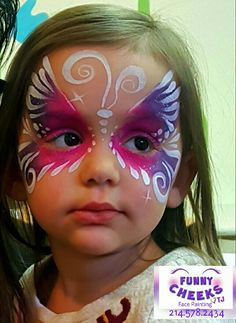 Butterfly Face Painting fun by Funny Cheeks Dallas for Wee Volunteer - Kids Face Painting Easy, Face Painting Halloween Kids, Kids Face Paints, Halloween Kids Makeup, Easy Face Painting Designs, Butterfly Face Paint, Butterfly Makeup, Princess Face Painting, Animal Face Paintings