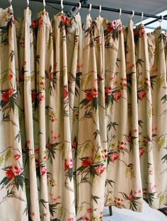 2 Panels Vintage 1940s Pistachio Green with Floral Pattern Barkcloth Curtain Panel // Valentine Flowers. $175.00, via Etsy.