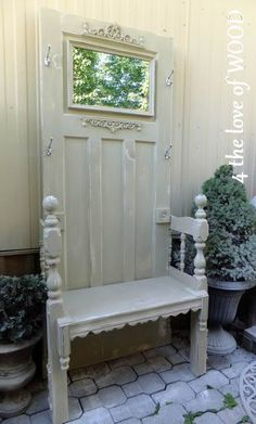 Old doors shutters and windows Salvaged Door Hall Tree - a door and salvaged pieces are repurposed, Refurbished Furniture, Repurposed Furniture, Rustic Furniture, Furniture Makeover, Painted Furniture, Diy Furniture, Repurposed Doors, Furniture Logo, Distressed Furniture