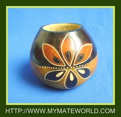 """Handcrafted """"LEAVES"""" Yerba Mate Gourd - Find out more about Yerba mate gourds at organicmate.net."""