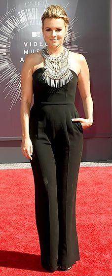Ali Fedotowsky takes the jumpsuit trend to the next level at the 2014 VMAs. Look at that totally glam embellishment!