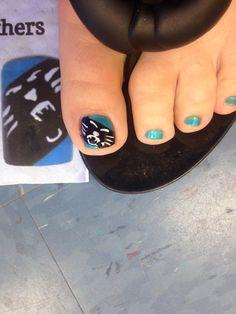My Carolina Panthers pedicure. <3 it!!!!