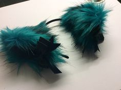Last Pair of Luxury teal faux fur ears with black inners and black bows. Fixed to a headband in height. This is the last pair of these ears available. Cat Ears And Tail, Wolf Tail, Fox Ears, Kittens Playing, Little Kittens, Character Design, Teal, Kitty, Anime