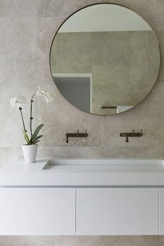 Real reno: Dated Sydney beach house transformed - The Interiors Addict Bathroom Style, Home, Modern Master Bathroom, Beach House Decor, Modern Bathroom Design, Bathroom Mirror, Round Mirror Bathroom, Bathroom Decor, Bathroom Inspiration