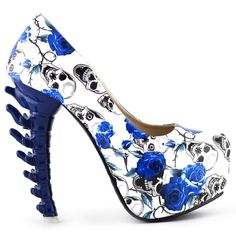 Amazon.com: Show Story Ladies Skull Rose Print Platform Bone Heel Party Club Pumps,LF80610: Shoes