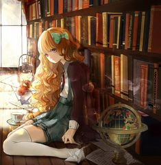 Tags: Anime, Cap, Leaning, Lamp, Globe, Paper, Bookshelf