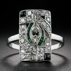 Art Deco Platinum Diamond and Emerald with Onyx Dinner Ring