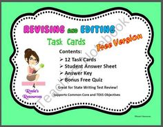 Revising and Editing Task Cards With Free Bonus Quiz - Free Version product from Rosies-Resources on TeachersNotebook.com