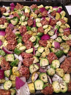 My husband is suddenly in a Paleo kick...Brussel Sprouts, sausage & veggie bake...going to use a chicken sausage...