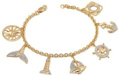 """Technibond Diamond-Accented Nautical Charm Bracelet. Despite the ever-changing tides of style, you'll hold fast to this whimsical charm bracelet. Chic and seaworthy style? It's a """"shore"""" thing. Design Information 2-tone Technibond bracelet has 7 nautical-themed charms and a single diamond accent Charms include compass rose, whale's tail, lighthouse, sailboat, ship's wheel, anchor and life preserver Good to Know These diamonds are graded at J-K color (near colorless) {Affiliate Link}"""